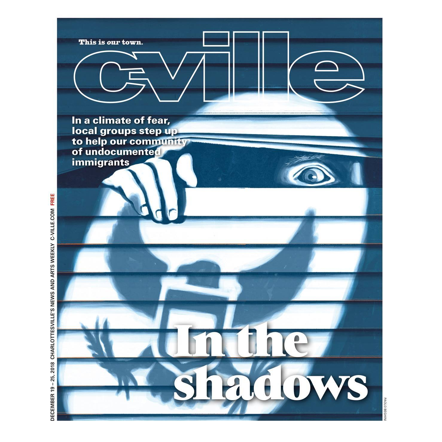 C-ville cover about how immigrants are forced to live in shadow in USA