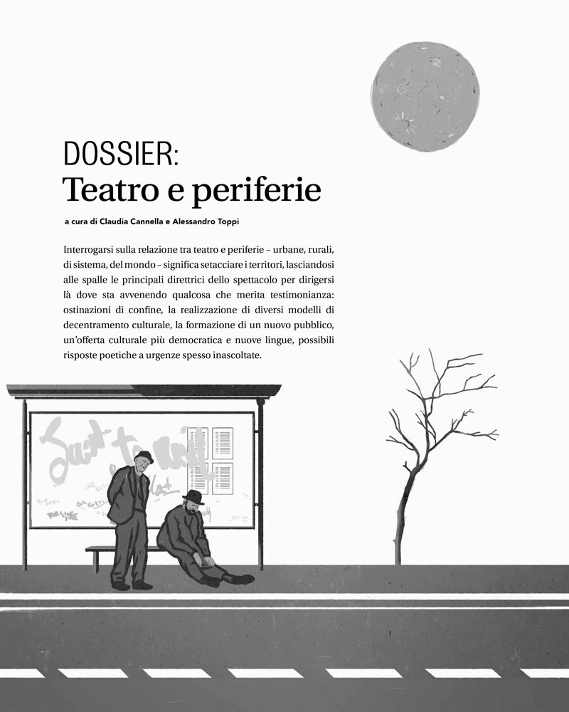 Illustration for Hystrio magazine about theatre and suburbs